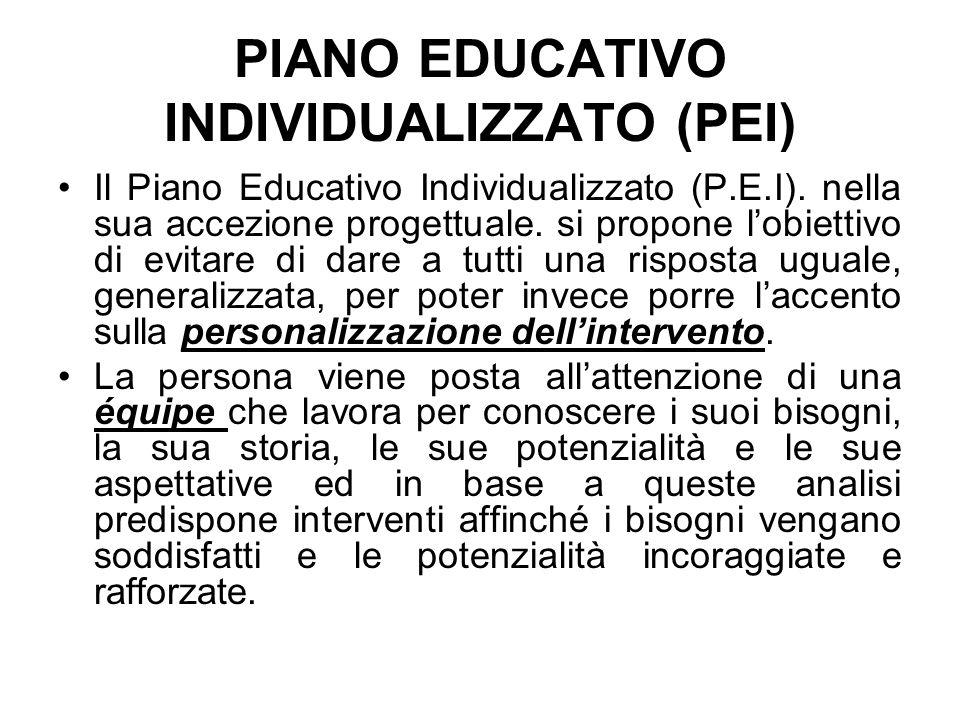 PIANO EDUCATIVO INDIVIDUALIZZATO (PEI) Il Piano Educativo Individualizzato (P.E.I).