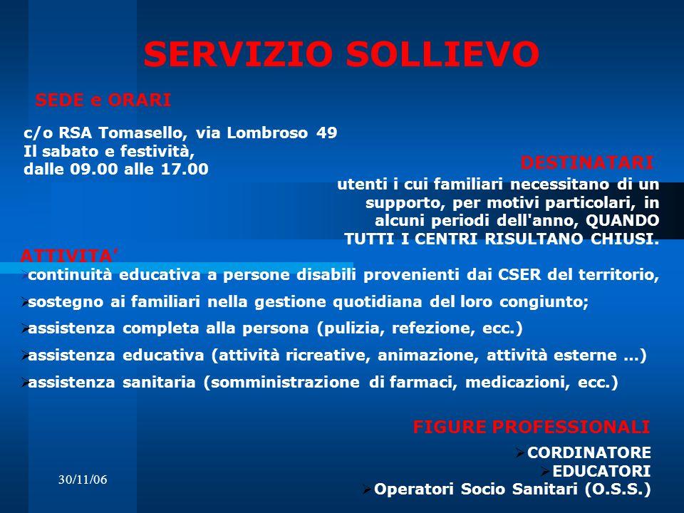 30/11/06 SERVIZIO SOLLIEVO c/o RSA Tomasello, via Lombroso 49 Il sabato e festività, dalle 09.00 alle 17.00 DESTINATARI SEDE e ORARI utenti i cui fami