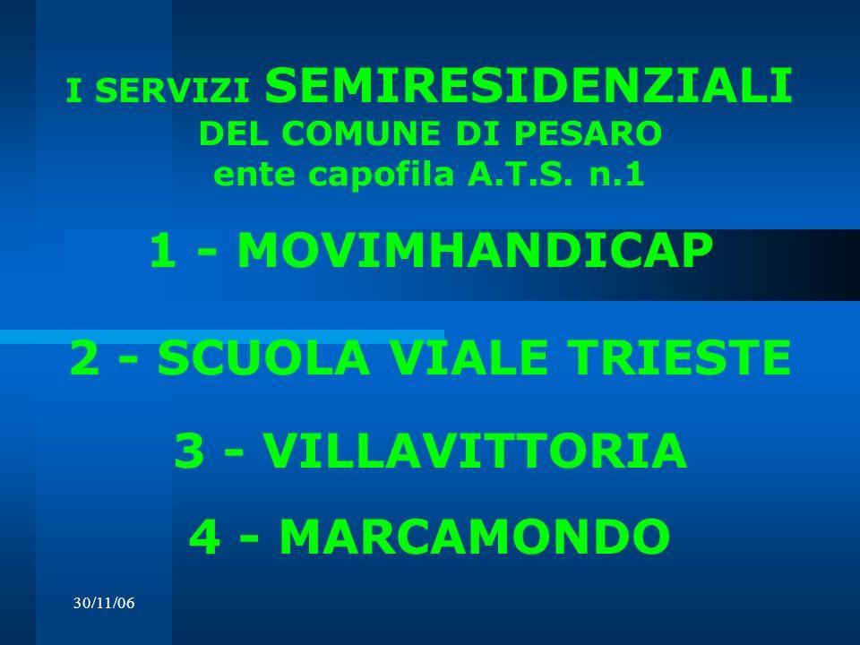 30/11/06 I SERVIZI SEMIRESIDENZIALI DEL COMUNE DI PESARO ente capofila A.T.S. n.1 1 - MOVIMHANDICAP 2 - SCUOLA VIALE TRIESTE 3 - VILLAVITTORIA 4 - MAR