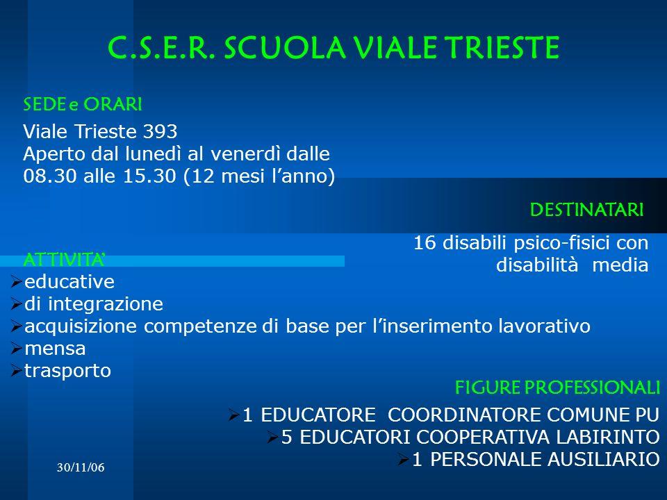 30/11/06 C.S.E.R. SCUOLA VIALE TRIESTE Viale Trieste 393 Aperto dal lunedì al venerdì dalle 08.30 alle 15.30 (12 mesi lanno) DESTINATARI SEDE e ORARI
