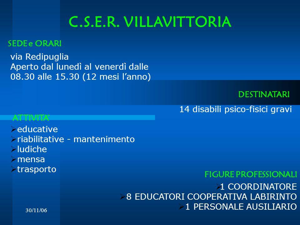 30/11/06 C.S.E.R. VILLAVITTORIA via Redipuglia Aperto dal lunedì al venerdì dalle 08.30 alle 15.30 (12 mesi lanno) DESTINATARI SEDE e ORARI 14 disabil