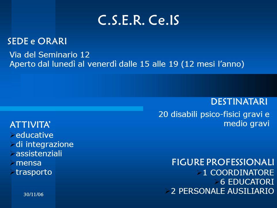 30/11/06 C.S.E.R. Ce.IS Via del Seminario 12 Aperto dal lunedì al venerdì dalle 15 alle 19 (12 mesi lanno) DESTINATARI SEDE e ORARI 20 disabili psico-
