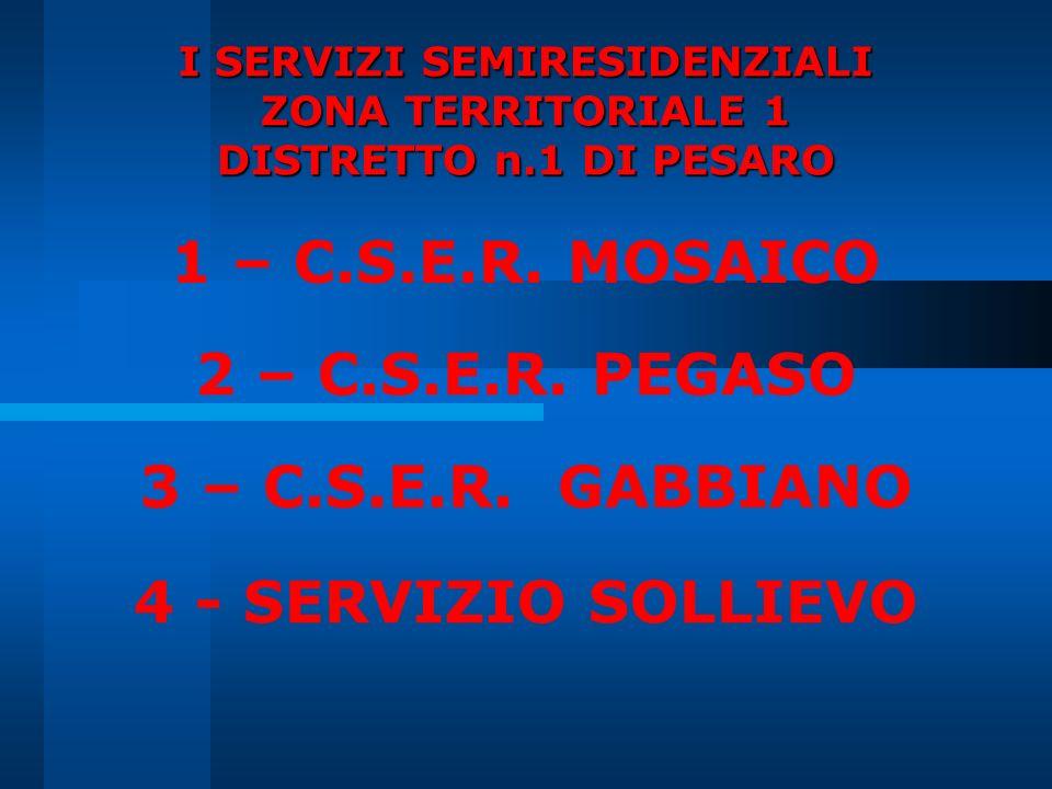 I SERVIZI SEMIRESIDENZIALI ZONA TERRITORIALE 1 DISTRETTO n.1 DI PESARO 1 – C.S.E.R. MOSAICO 2 – C.S.E.R. PEGASO 3 – C.S.E.R. GABBIANO 4 - SERVIZIO SOL