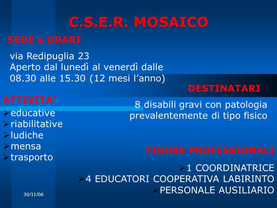 30/11/06 C.S.E.R. MOSAICO via Redipuglia 23 Aperto dal lunedì al venerdì dalle 08.30 alle 15.30 (12 mesi lanno) DESTINATARI SEDE e ORARI 8 disabili gr