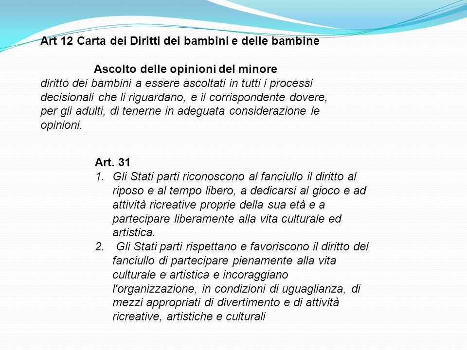 Art 12 Carta dei Diritti dei bambini e delle bambine Ascolto delle opinioni del minore diritto dei bambini a essere ascoltati in tutti i processi deci