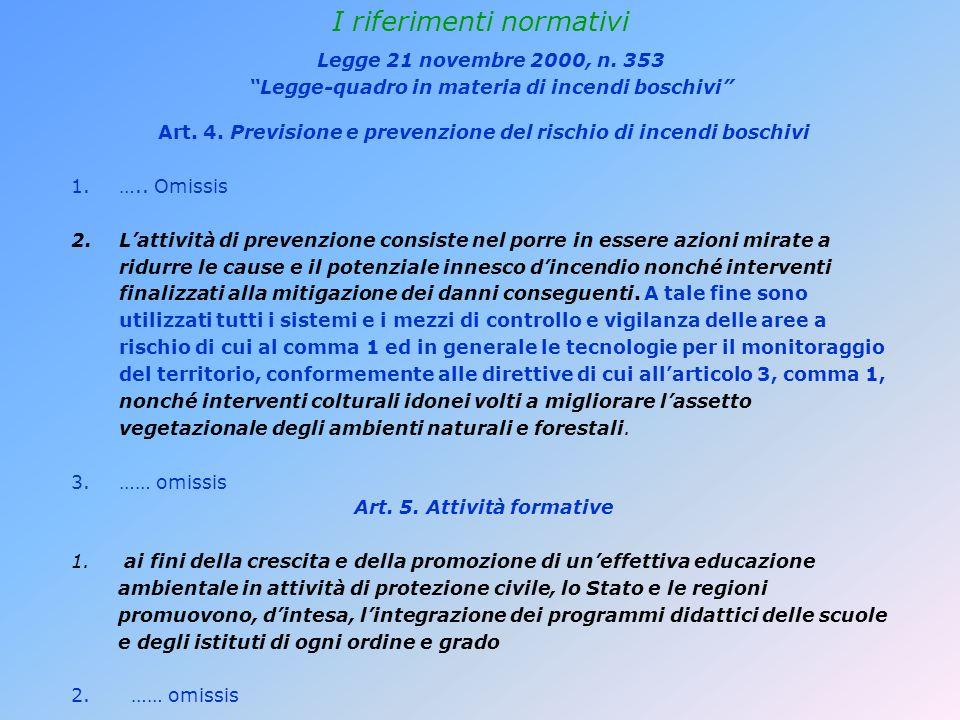 I riferimenti normativi Art. 4. Previsione e prevenzione del rischio di incendi boschivi 1.…..