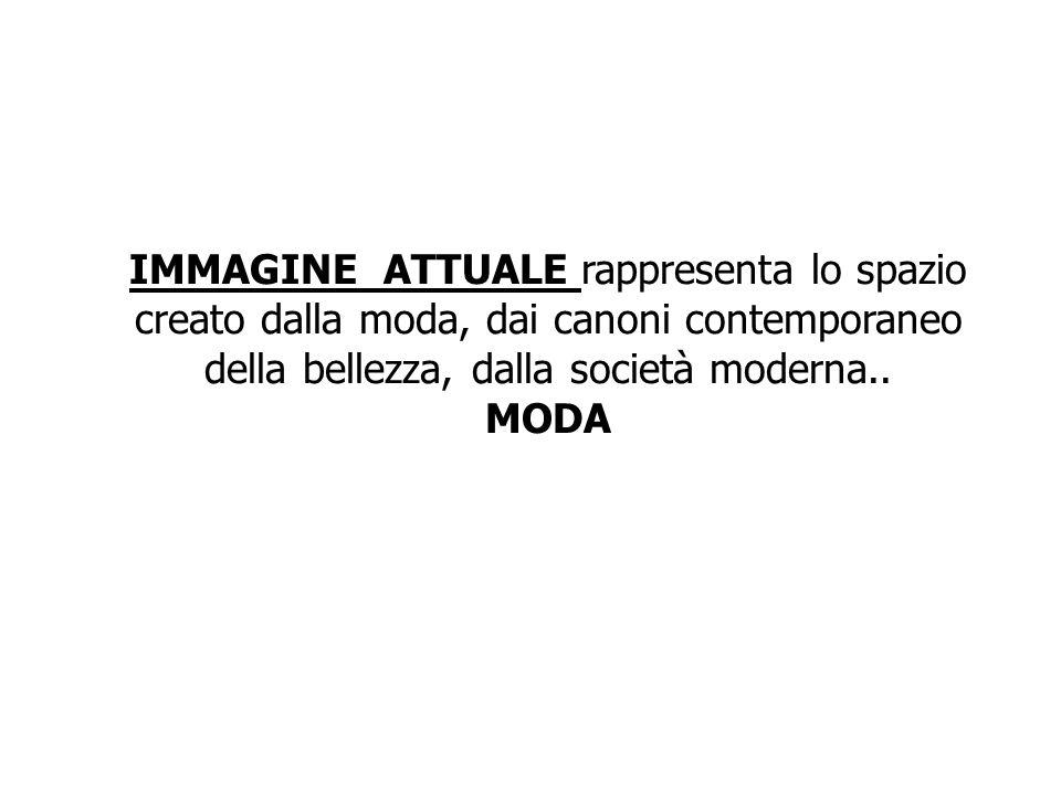 IMMAGINE ATTUALE rappresenta lo spazio creato dalla moda, dai canoni contemporaneo della bellezza, dalla società moderna..