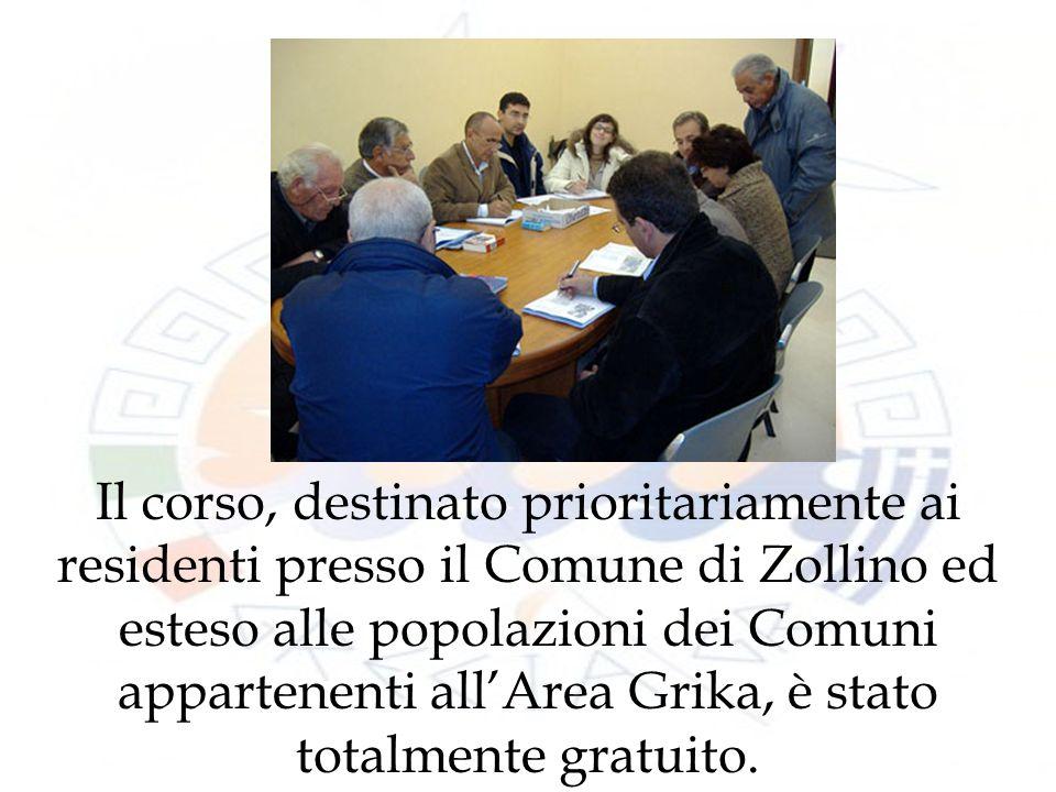 Il corso, destinato prioritariamente ai residenti presso il Comune di Zollino ed esteso alle popolazioni dei Comuni appartenenti allArea Grika, è stato totalmente gratuito.