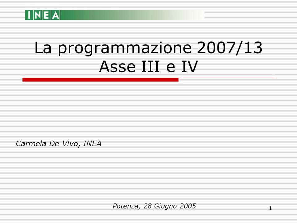 1 La programmazione 2007/13 Asse III e IV Carmela De Vivo, INEA Potenza, 28 Giugno 2005