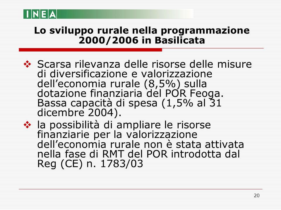 20 Scarsa rilevanza delle risorse delle misure di diversificazione e valorizzazione delleconomia rurale (8,5%) sulla dotazione finanziaria del POR Feo
