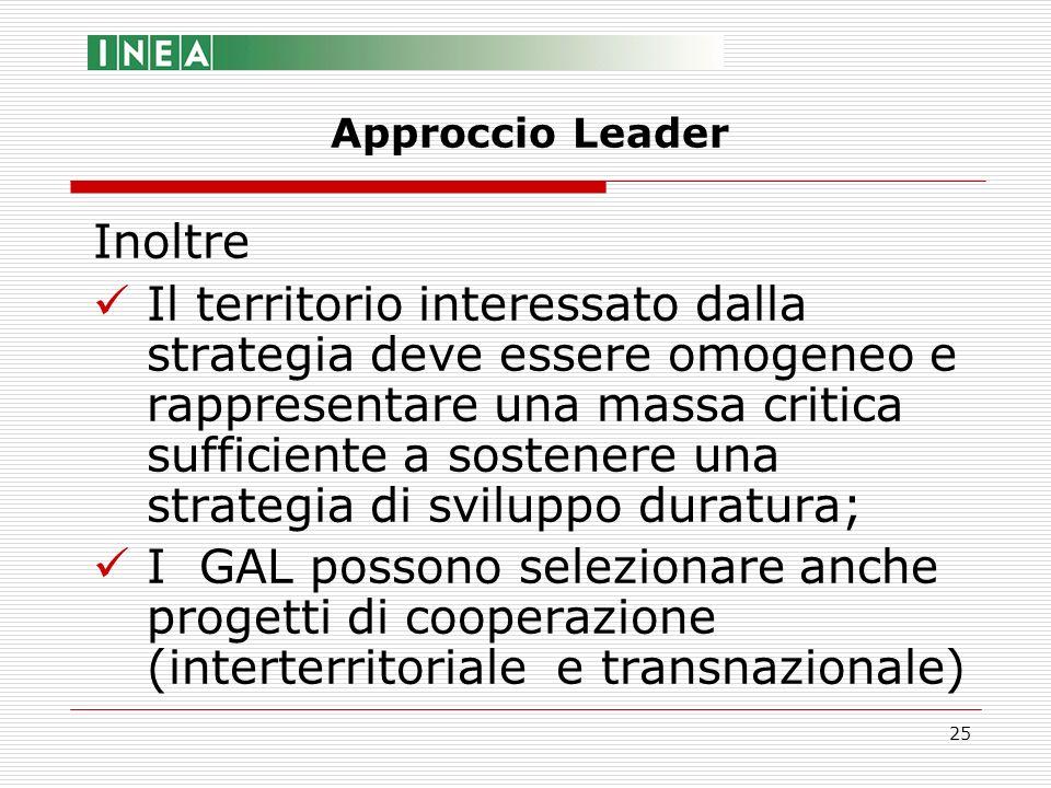 25 Inoltre Il territorio interessato dalla strategia deve essere omogeneo e rappresentare una massa critica sufficiente a sostenere una strategia di s