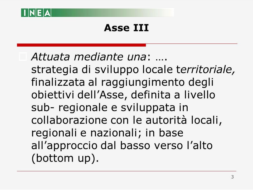 3 Attuata mediante una: …. strategia di sviluppo locale territoriale, finalizzata al raggiungimento degli obiettivi dellAsse, definita a livello sub-
