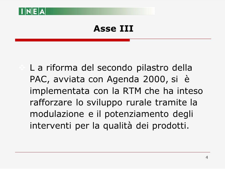 4 L a riforma del secondo pilastro della PAC, avviata con Agenda 2000, si è implementata con la RTM che ha inteso rafforzare lo sviluppo rurale tramit