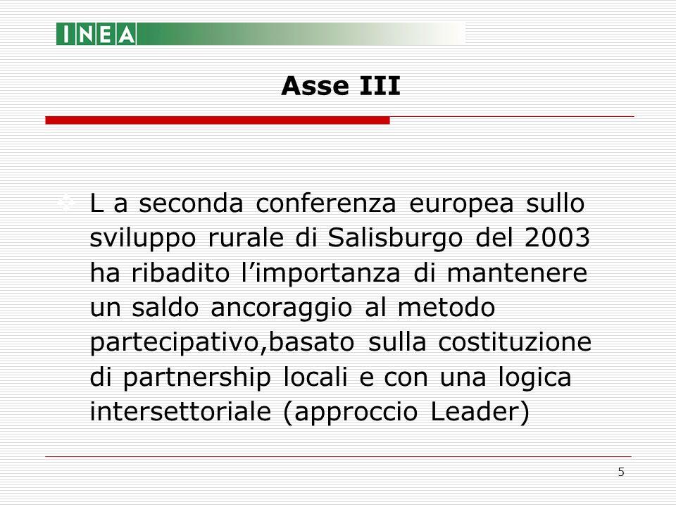 6 Risorse finanziarie:pari almeno al 10% delle risorse del PSR Misure:quattro, articolate in otto sottomisure Asse III