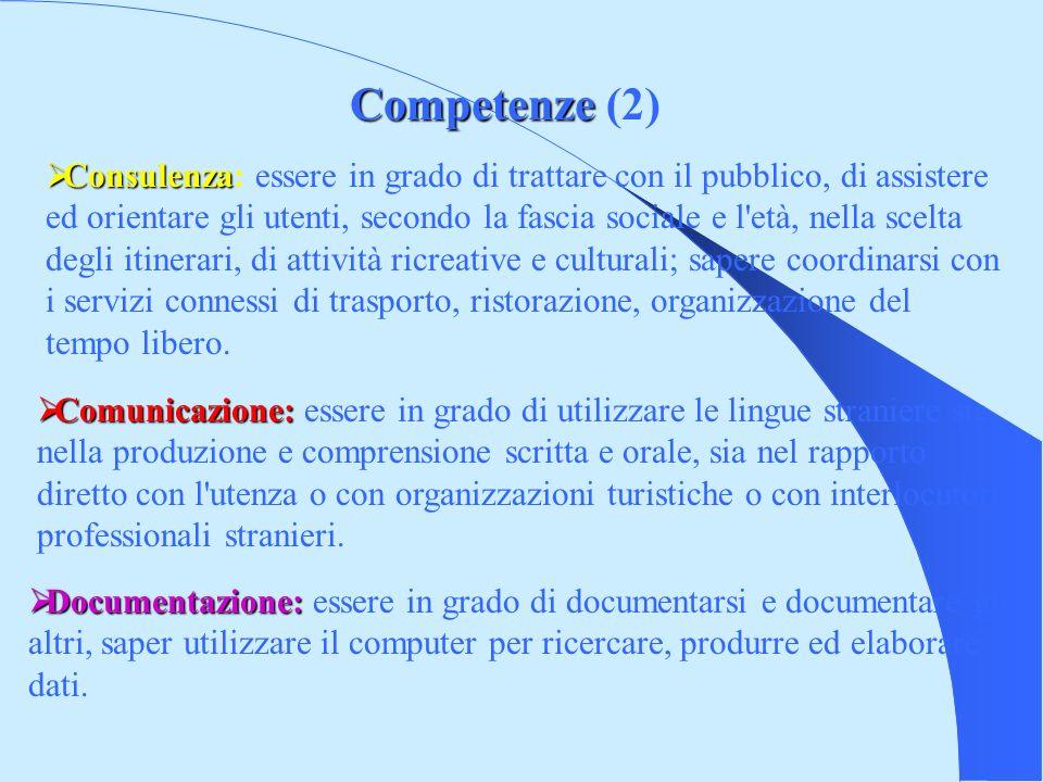 Competenze Competenze (2) Documentazione: Documentazione: essere in grado di documentarsi e documentare gli altri, saper utilizzare il computer per ricercare, produrre ed elaborare dati.