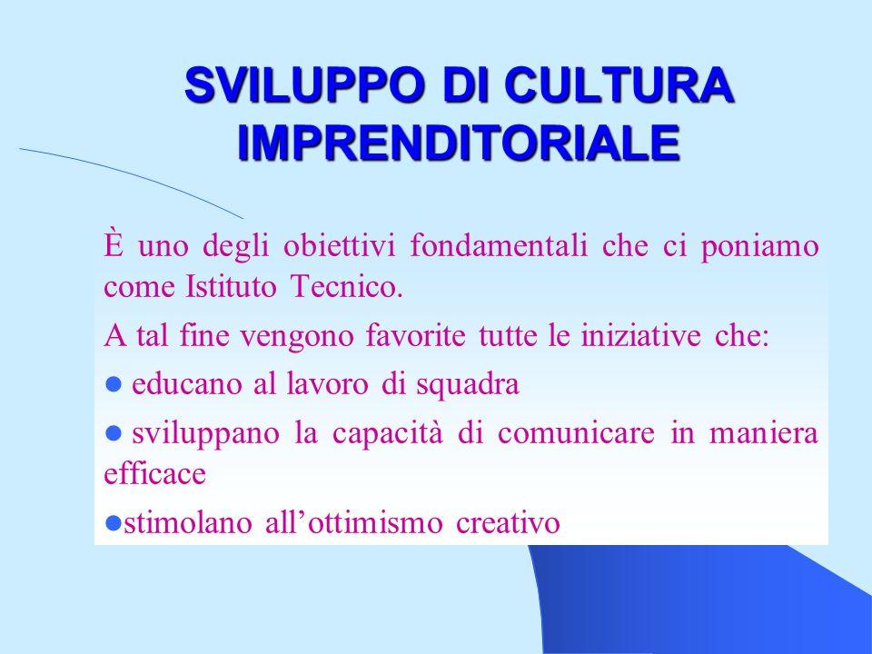 SVILUPPO DI CULTURA IMPRENDITORIALE È uno degli obiettivi fondamentali che ci poniamo come Istituto Tecnico.