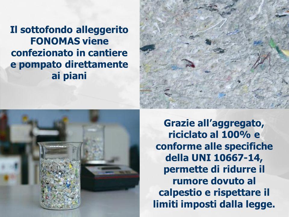 Il sottofondo alleggerito FONOMAS viene confezionato in cantiere e pompato direttamente ai piani Grazie allaggregato, riciclato al 100% e conforme all