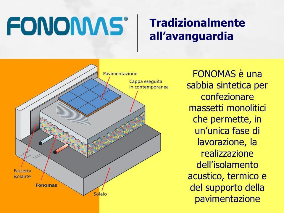 FONOMAS è una sabbia sintetica per confezionare massetti monolitici che permette, in ununica fase di lavorazione, la realizzazione dellisolamento acus