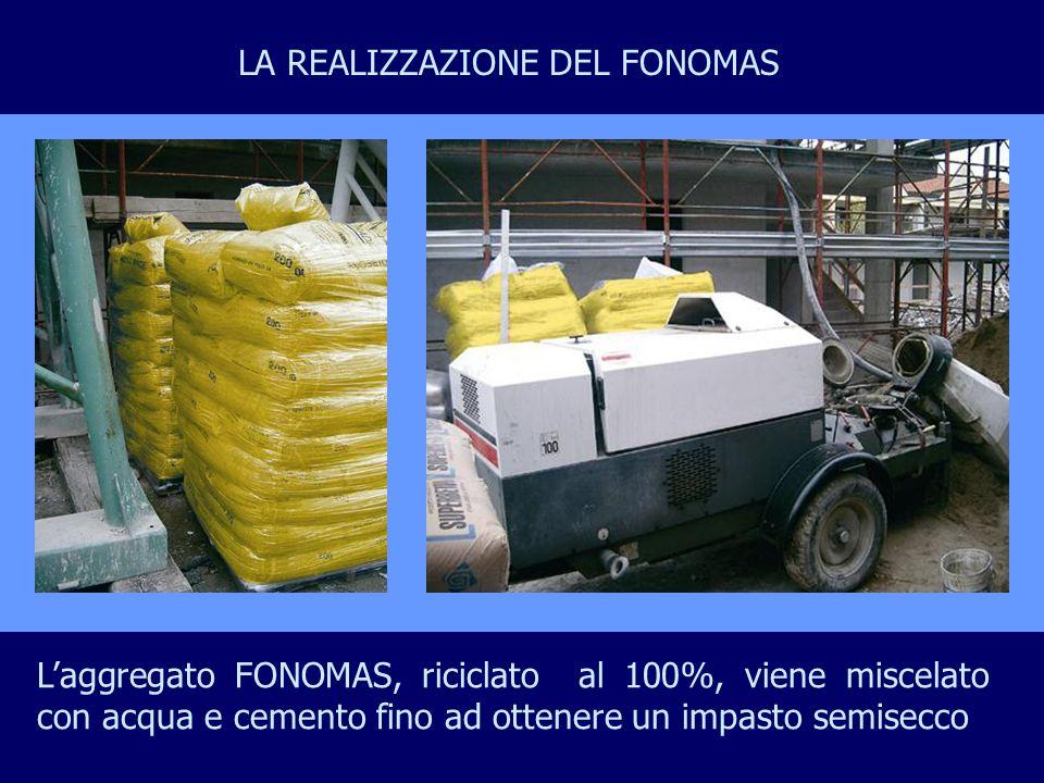 Laggregato FONOMAS, riciclato al 100%, viene miscelato con acqua e cemento fino ad ottenere un impasto semisecco LA REALIZZAZIONE DEL FONOMAS