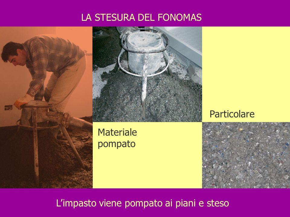 Limpasto viene pompato ai piani e steso LA STESURA DEL FONOMAS Materiale pompato Particolare