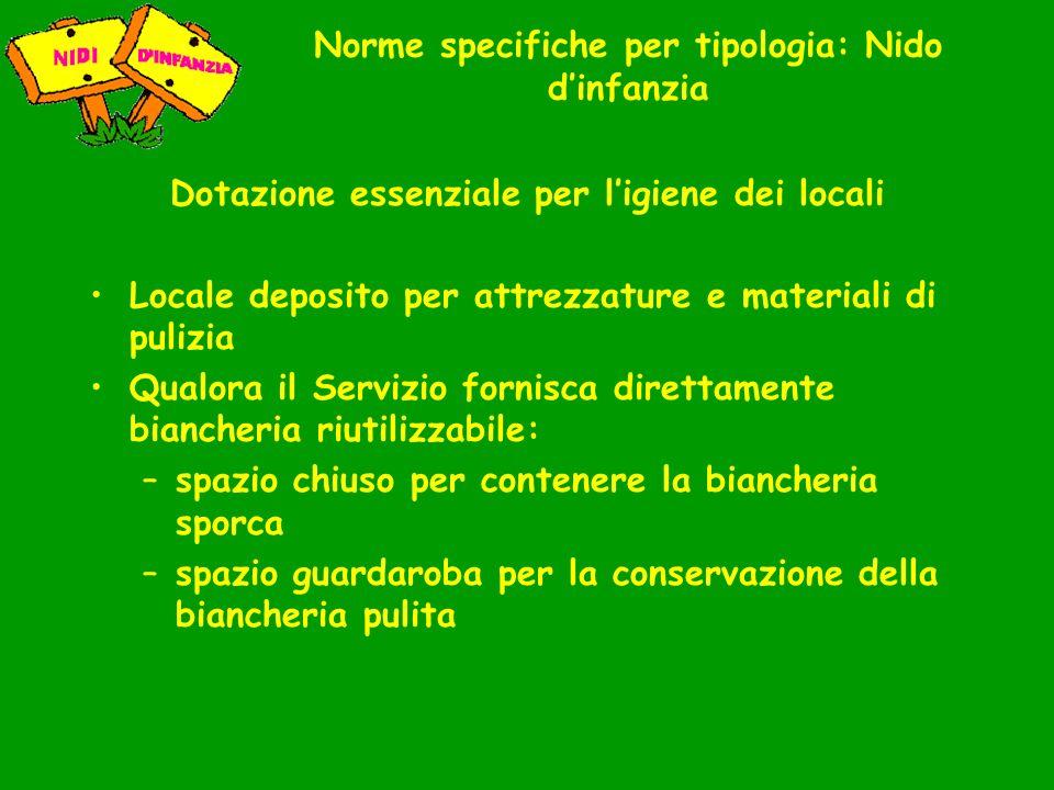 Norme specifiche per tipologia: Nido dinfanzia Dotazione essenziale per ligiene dei locali Locale deposito per attrezzature e materiali di pulizia Qua