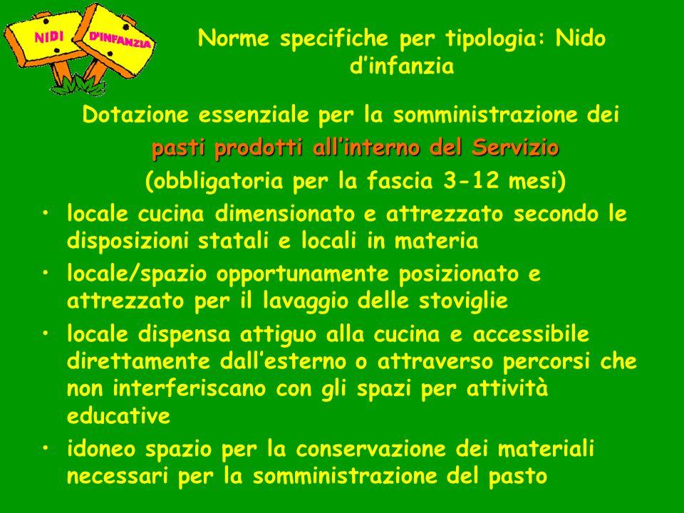 Norme specifiche per tipologia: Nido dinfanzia Dotazione essenziale per la somministrazione dei pasti prodotti allinterno del Servizio (obbligatoria p