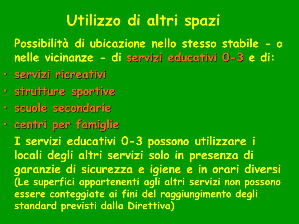 Utilizzo di altri spazi servizi educativi 0-3 Possibilità di ubicazione nello stesso stabile - o nelle vicinanze - di servizi educativi 0-3 e di: serv