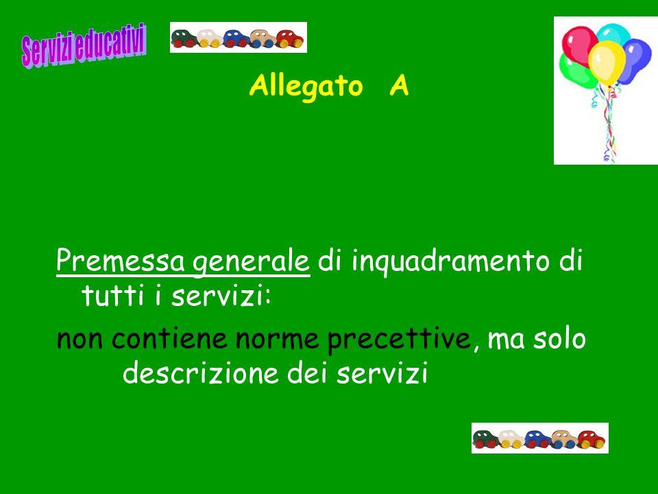 Allegato A Premessa generale di inquadramento di tutti i servizi: non contiene norme precettive, ma solo descrizione dei servizi