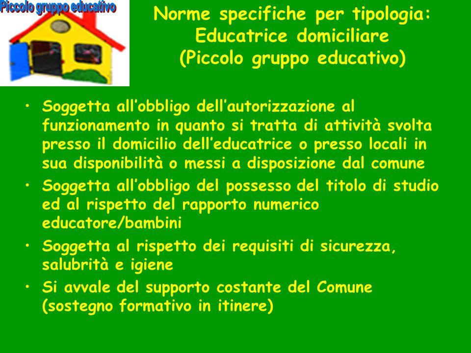 Norme specifiche per tipologia: Educatrice domiciliare (Piccolo gruppo educativo) Soggetta allobbligo dellautorizzazione al funzionamento in quanto si