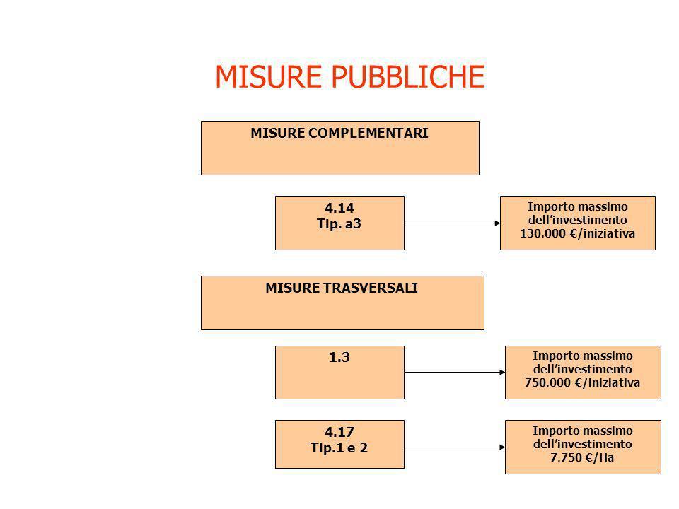 MISURE PUBBLICHE 4.14 Tip. a3 MISURE COMPLEMENTARI Importo massimo dellinvestimento 130.000 /iniziativa MISURE TRASVERSALI 1.3 Importo massimo dellinv