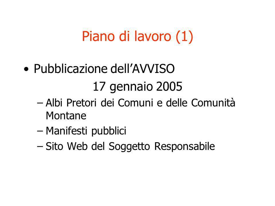 Piano di lavoro (1) Pubblicazione dellAVVISO 17 gennaio 2005 –Albi Pretori dei Comuni e delle Comunità Montane –Manifesti pubblici –Sito Web del Sogge