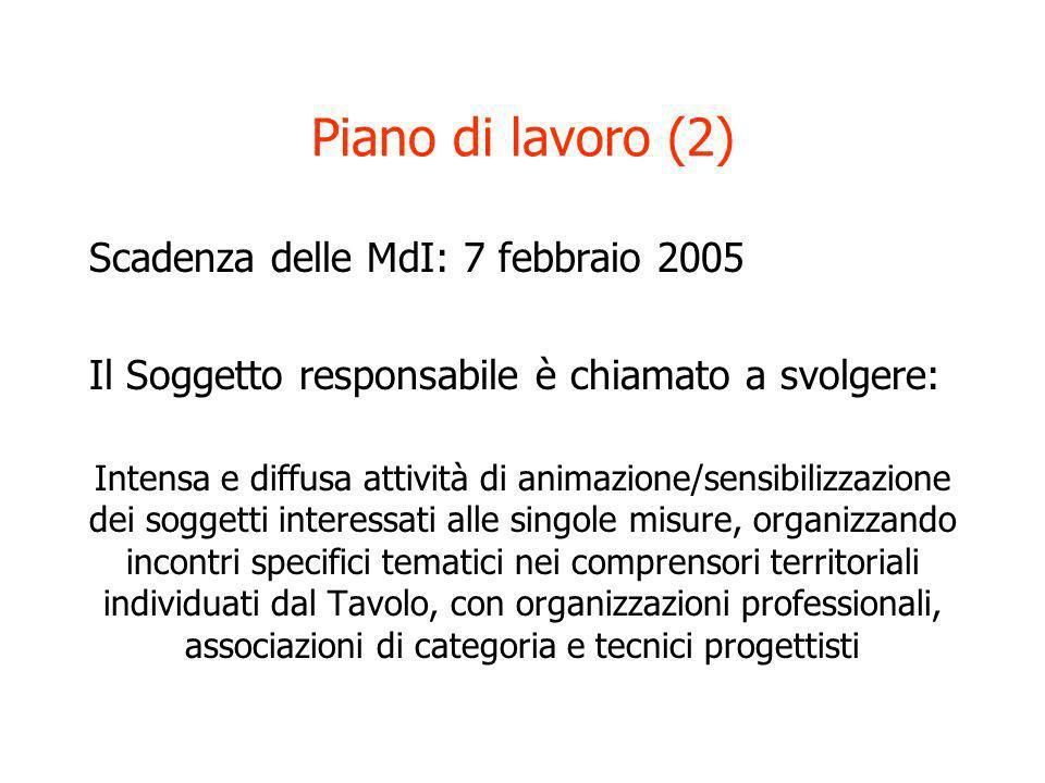 Piano di lavoro (2) Scadenza delle MdI: 7 febbraio 2005 Il Soggetto responsabile è chiamato a svolgere: Intensa e diffusa attività di animazione/sensi
