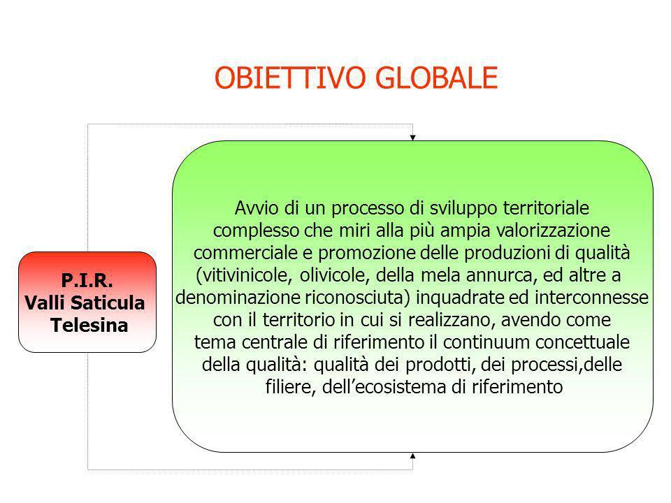 OBIETTIVO GLOBALE P.I.R. Valli Saticula Telesina Avvio di un processo di sviluppo territoriale complesso che miri alla più ampia valorizzazione commer