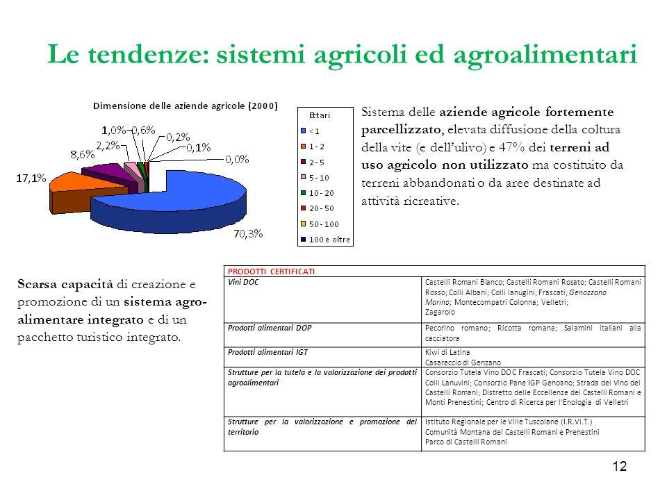 12 Le tendenze: sistemi agricoli ed agroalimentari Scarsa capacità di creazione e promozione di un sistema agro- alimentare integrato e di un pacchetto turistico integrato.
