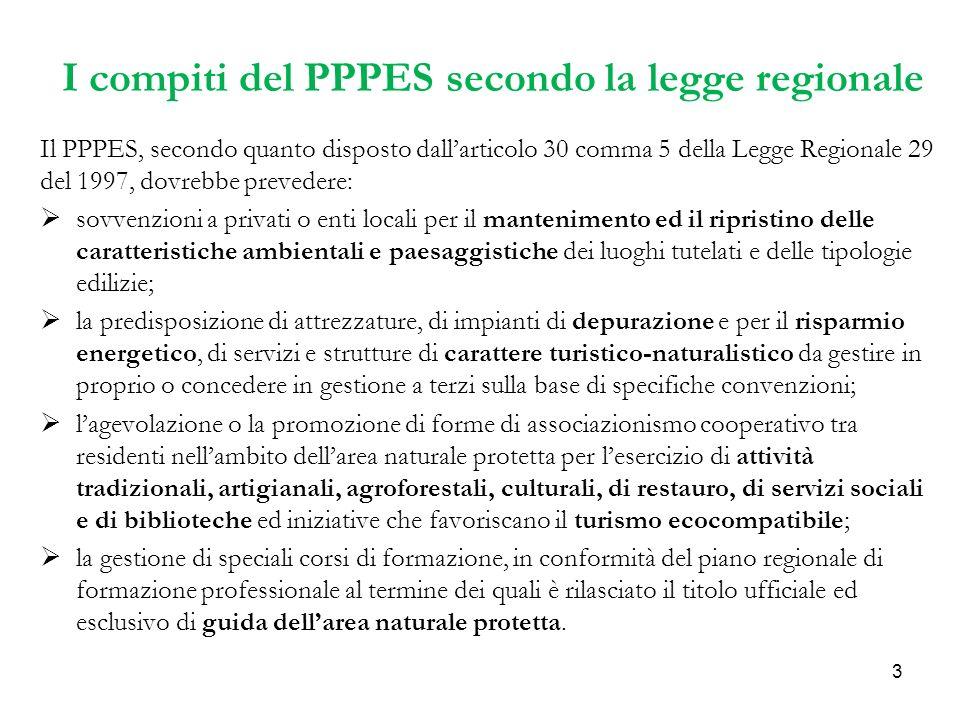 3 I compiti del PPPES secondo la legge regionale Il PPPES, secondo quanto disposto dallarticolo 30 comma 5 della Legge Regionale 29 del 1997, dovrebbe prevedere: sovvenzioni a privati o enti locali per il mantenimento ed il ripristino delle caratteristiche ambientali e paesaggistiche dei luoghi tutelati e delle tipologie edilizie; la predisposizione di attrezzature, di impianti di depurazione e per il risparmio energetico, di servizi e strutture di carattere turistico-naturalistico da gestire in proprio o concedere in gestione a terzi sulla base di specifiche convenzioni; lagevolazione o la promozione di forme di associazionismo cooperativo tra residenti nellambito dellarea naturale protetta per lesercizio di attività tradizionali, artigianali, agroforestali, culturali, di restauro, di servizi sociali e di biblioteche ed iniziative che favoriscano il turismo ecocompatibile; la gestione di speciali corsi di formazione, in conformità del piano regionale di formazione professionale al termine dei quali è rilasciato il titolo ufficiale ed esclusivo di guida dellarea naturale protetta.