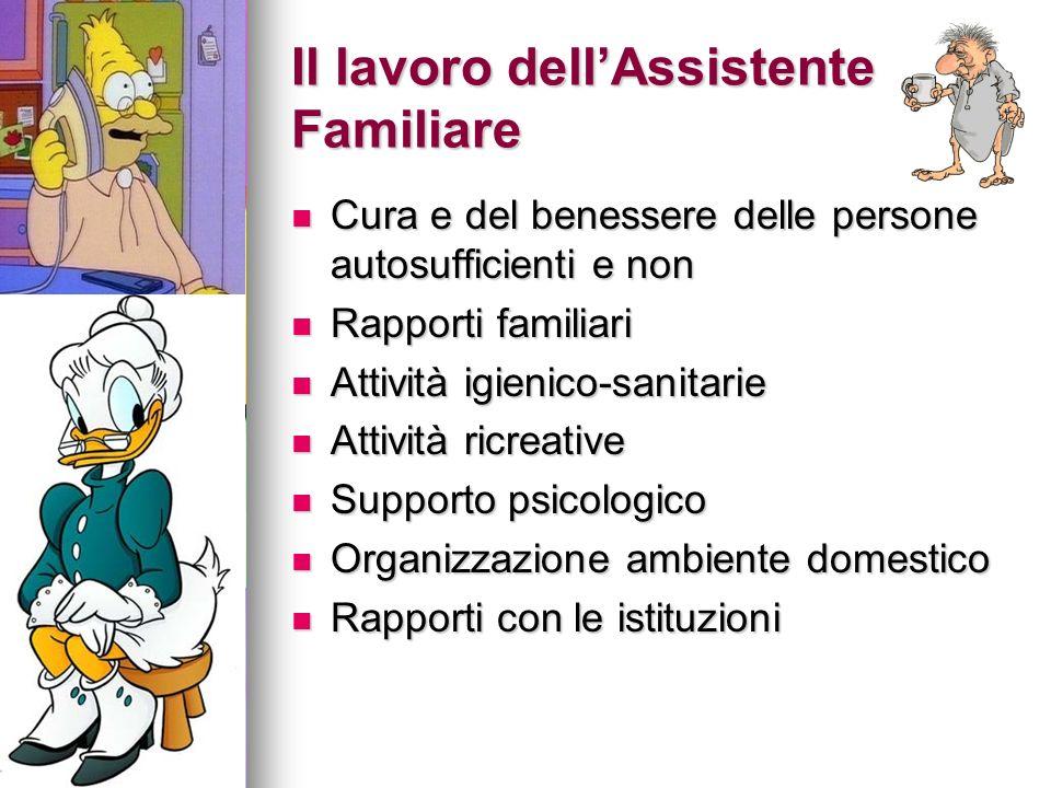 Il lavoro dellAssistente Familiare Cura e del benessere delle persone autosufficienti e non Cura e del benessere delle persone autosufficienti e non R