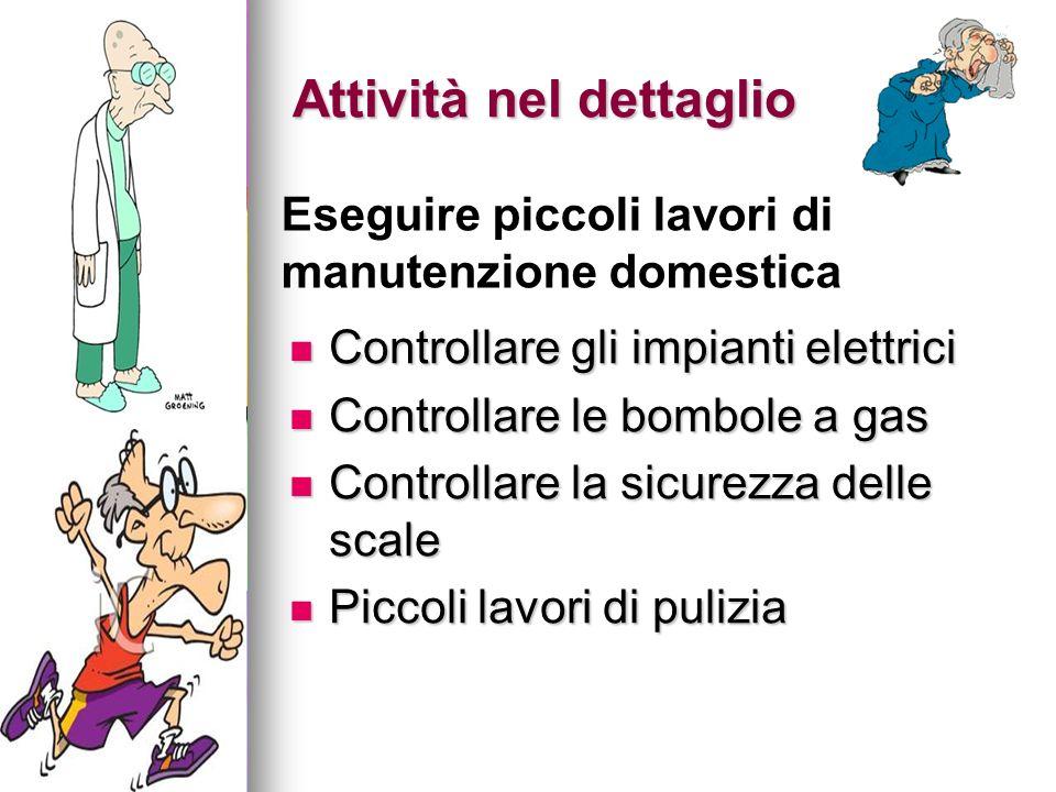Attività nel dettaglio Controllare gli impianti elettrici Controllare gli impianti elettrici Controllare le bombole a gas Controllare le bombole a gas