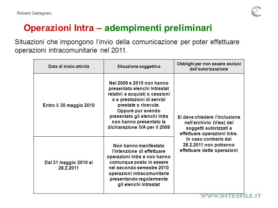Operazioni Intra – adempimenti preliminari Roberto Castegnaro Situazioni che impongono linvio della comunicazione per poter effettuare operazioni intracomunitarie nel 2011.