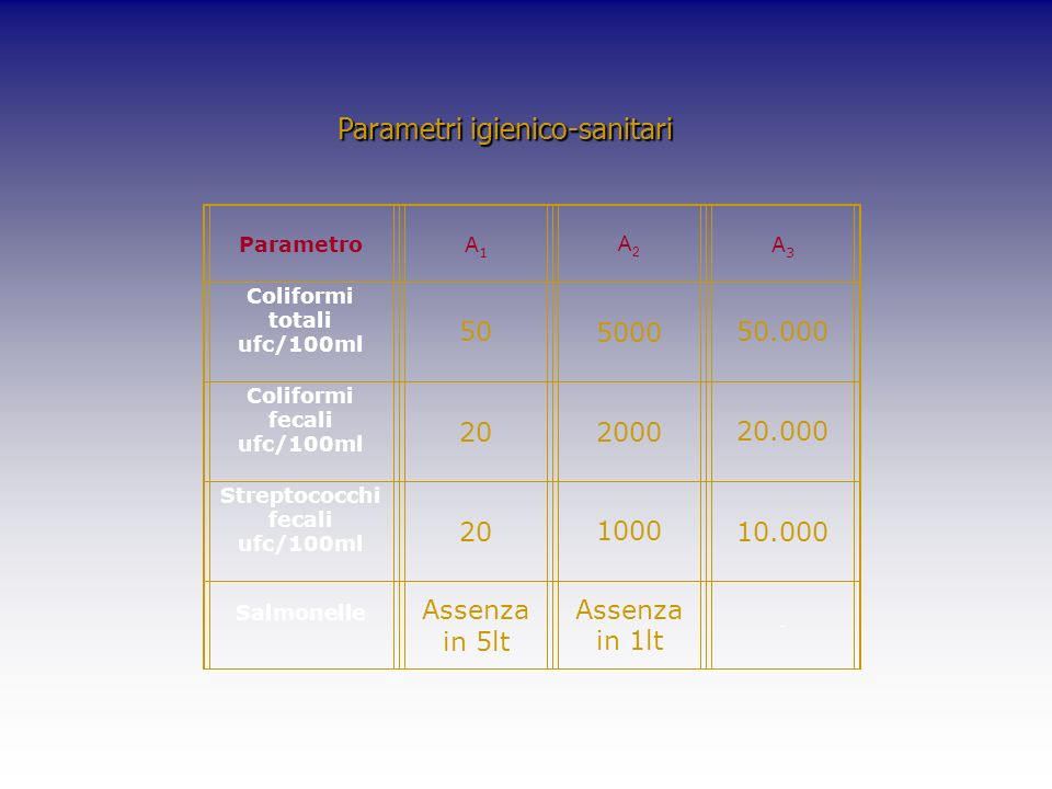 Parametri igienico-sanitari ParametroA1A1 A2A2 A3A3 Coliformi totali ufc/100ml 50500050.000 Coliformi fecali ufc/100ml 20200020.000 Streptococchi feca