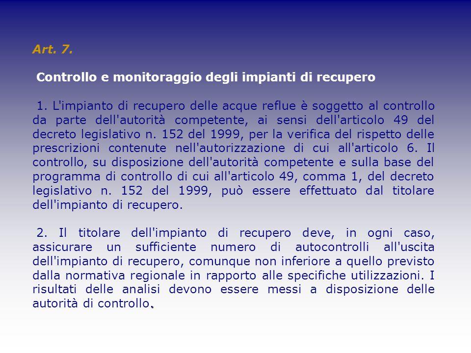 Art. 7. Controllo e monitoraggio degli impianti di recupero 1. L'impianto di recupero delle acque reflue è soggetto al controllo da parte dell'autorit