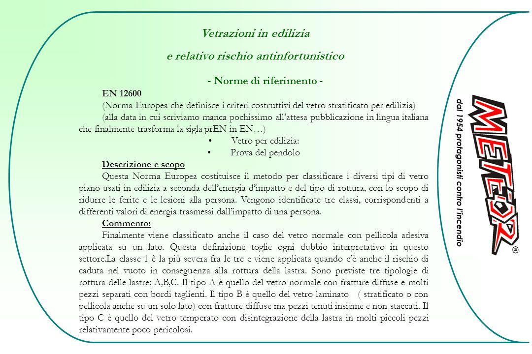 Vetrazioni in edilizia e relativo rischio antinfortunistico - Norme di riferimento - EN 12600 (Norma Europea che definisce i criteri costruttivi del v