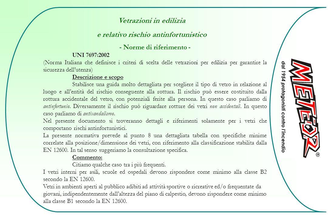 Vetrazioni in edilizia e relativo rischio antinfortunistico - Norme di riferimento - UNI 7697:2002 (Norma Italiana che definisce i criteri di scelta d