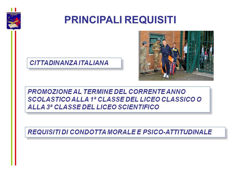 PRINCIPALI REQUISITI CITTADINANZA ITALIANA PROMOZIONE AL TERMINE DEL CORRENTE ANNO SCOLASTICO ALLA 1ª CLASSE DEL LICEO CLASSICO O ALLA 3ª CLASSE DEL L