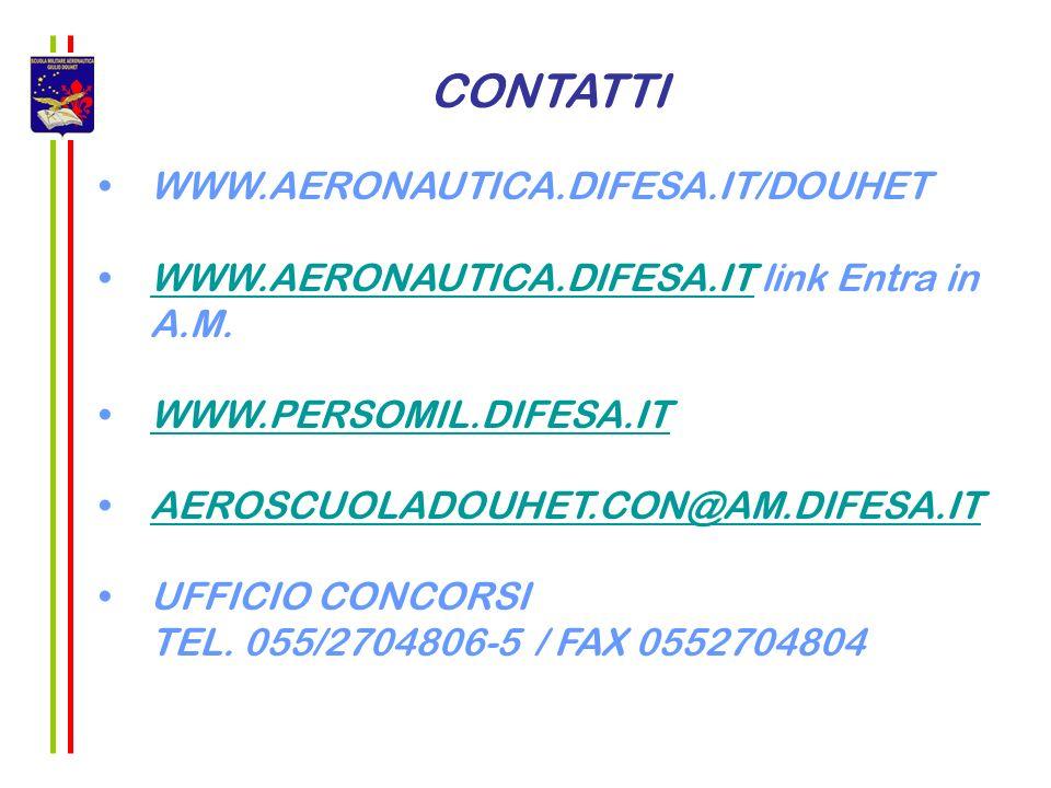 CONTATTI WWW.AERONAUTICA.DIFESA.IT/DOUHET WWW.AERONAUTICA.DIFESA.IT link Entra in A.M.WWW.AERONAUTICA.DIFESA.IT WWW.PERSOMIL.DIFESA.IT AEROSCUOLADOUHE