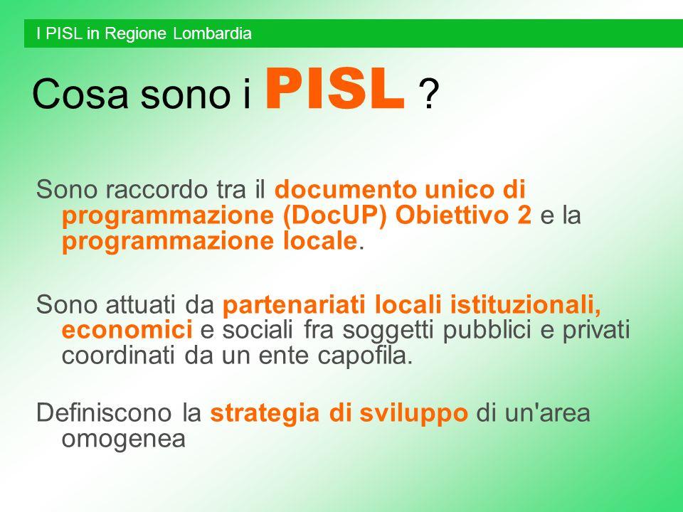 Cosa sono i PISL ? Sono raccordo tra il documento unico di programmazione (DocUP) Obiettivo 2 e la programmazione locale. Sono attuati da partenariati