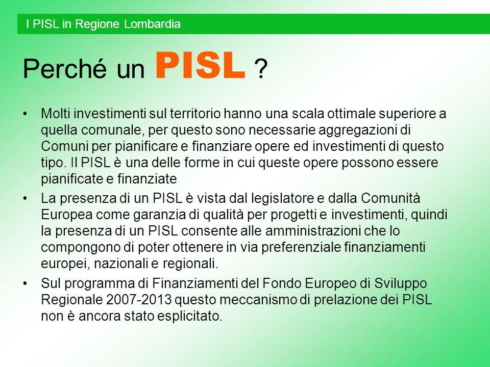Perché un PISL ? Molti investimenti sul territorio hanno una scala ottimale superiore a quella comunale, per questo sono necessarie aggregazioni di Co