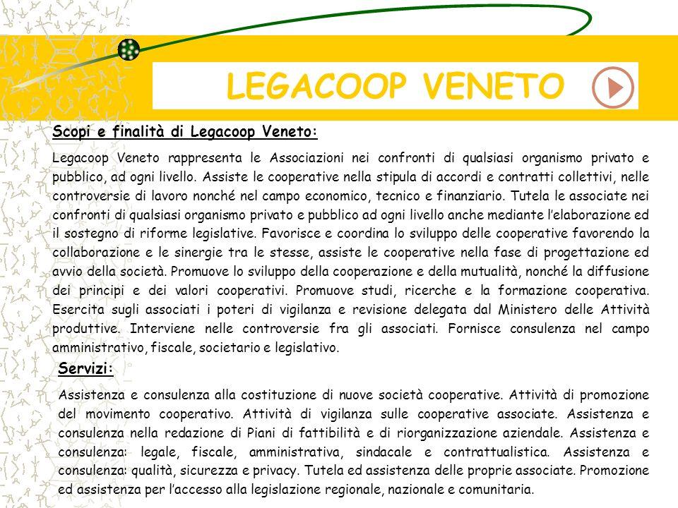 LEGACOOP VENETO Scopi e finalità di Legacoop Veneto: Legacoop Veneto rappresenta le Associazioni nei confronti di qualsiasi organismo privato e pubbli