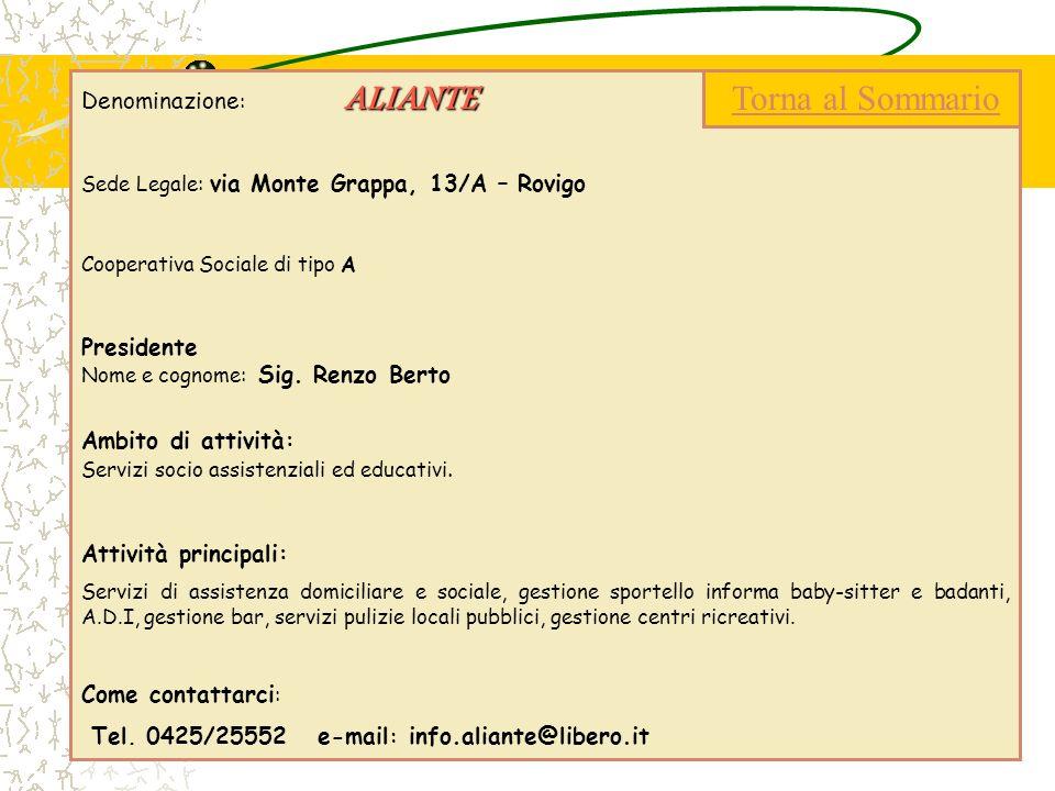 ALIANTE Denominazione : ALIANTE Sede Legale: via Monte Grappa, 13/A – Rovigo Cooperativa Sociale di tipo A Presidente Nome e cognome: Sig. Renzo Berto