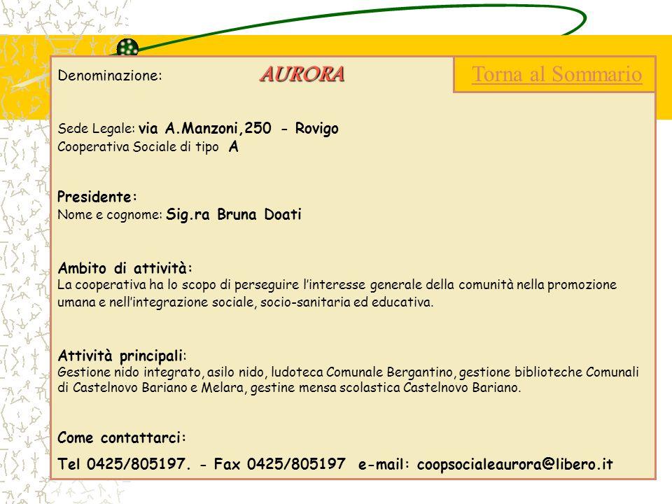 AURORA Denominazione: AURORA Sede Legale: via A.Manzoni,250 - Rovigo Cooperativa Sociale di tipo A Presidente: Nome e cognome: Sig.ra Bruna Doati Ambi