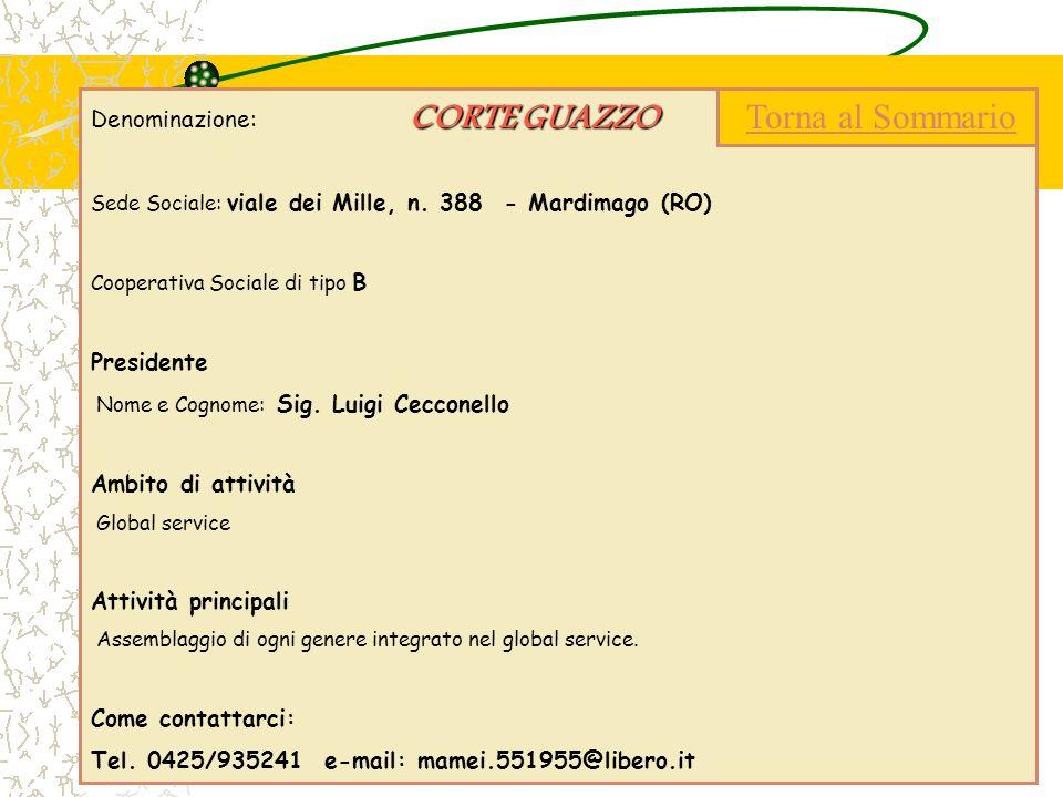 CORTE GUAZZO Denominazione: CORTE GUAZZO Sede Sociale: viale dei Mille, n. 388 - Mardimago (RO) Cooperativa Sociale di tipo B Presidente Nome e Cognom